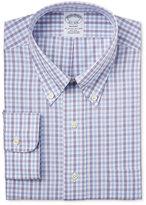 Brooks Brothers Regent Men's Classic-Fit Non-Iron Purple Tattersall Dress Shirt