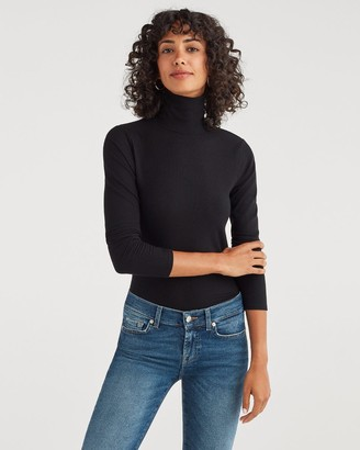 7 For All Mankind Long Sleeve Turtleneck Tee in Jet Black