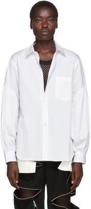 Comme des Garçons Homme Plus White Shirred Sleeve Shirt