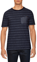 Striped Denim Patch Pocket Tee