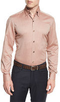 Ermenegildo Zegna Flannel Long-Sleeve Sport Shirt, Orange