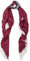 Balenciaga Printed Silk-jacquard Scarf - Burgundy