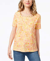 Alfred Dunner Still My Sunshine Lattice-Trim T-Shirt