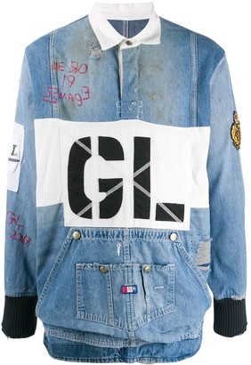 Greg Lauren distressed effect denim polo shirt