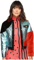 House of Holland Metallic Leather and Shearling Bomber Jacket