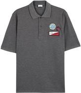 Saint Laurent Grey Appliquéd Cotton Polo Shirt