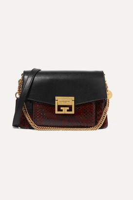Givenchy Gv3 Small Leather And Python Shoulder Bag - Black
