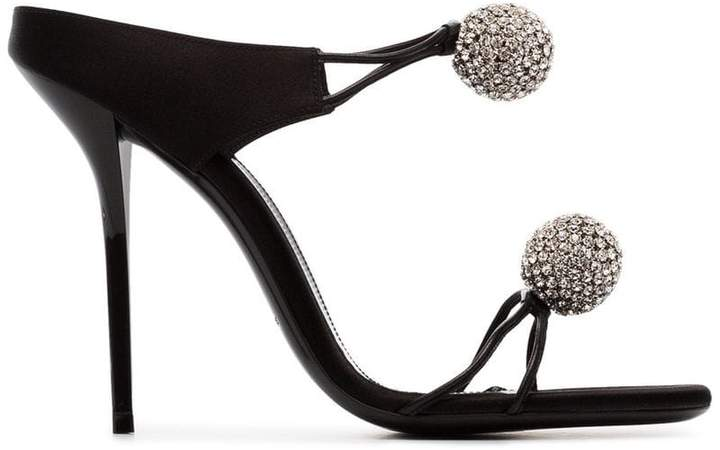 Saint Laurent Pierre 110 satin and leather crystal ball shoes