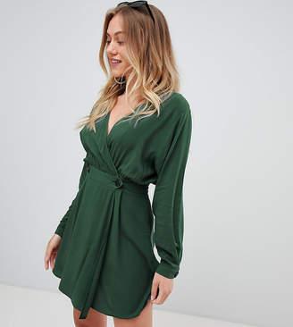Asos DESIGN Petite casual wrap mini dress-Green