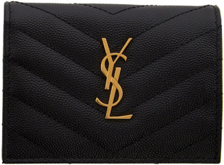 Saint Laurent Black Monogramme Flap Card Holder