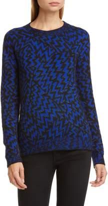 Saint Laurent Shimmer Chevron Wool & Mohair Blend Sweater