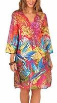 Boutique 9 Boutique Women's Leaf Print Bright Cotton Kaftan