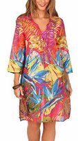 Boutique Women's Leaf Print Bright Cotton Kaftan Small (Us 4-6) Pink