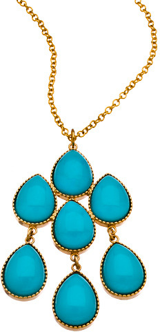 Lisa Stewart Turquoise Pear Cluster Pendant Necklace
