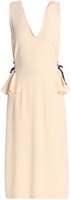 Tome Lace-up Crepe Peplum Midi Dress