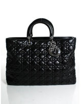 Christian Dior Black Quilted Lambskin Leather Large Lady Convertible Satchel Bag EVHB