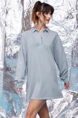 Nasty Gal Womens Oversized Polo Shirt Dress - Cornflower Blue