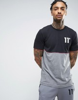 11 Degrees T-Shirt In Grey With Logo And Cut & Sew Panel