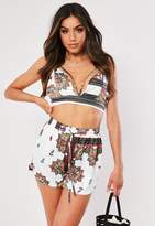 Missguided White Scarf Print Harness Co Ord Bralet
