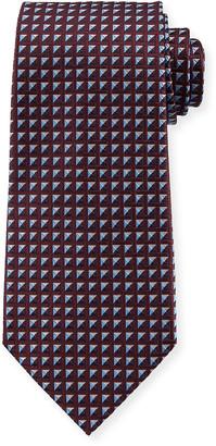 Ermenegildo Zegna Shaded Squares Silk Tie, Burgundy