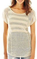 JCPenney a.n.a® Cap-Sleeve Open-Back Top