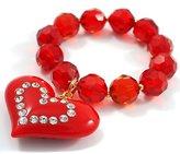 Avalaya Red Plastic Jumbo Heart Stretch Costume Bracelet