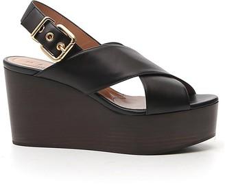 Marni Cross-Strap Wedge Sandals