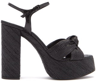 Saint Laurent Bianca Knotted Raffia Platform Sandals - Black