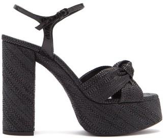 Saint Laurent Bianca Knotted Raffia Platform Sandals - Womens - Black