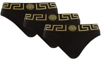 Versace Pack Of Three Medusa Logo Stretch Cotton Briefs - Mens - Black Multi