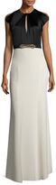 Jenny Packham Silk Colorblock Embellished Band Gown