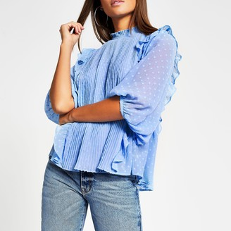 River Island Womens Blue pleated frill long sleeve blouse