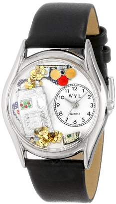 Whimsical Watches Casino Black Leather and Silvertone Unisex Quartz Watch with White Dial Analogue Display and Multicolour Leather Strap S-0420002