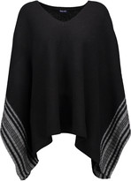 Splendid Striped wool and cashmere-blend poncho