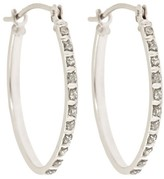 Target.com Use Only Oval Sterling Silver Earrings with Diamond Accents - White
