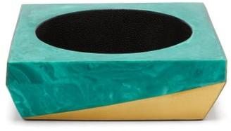 Blue Carreon - Malachite And Faux Shagreen Bowl - Green