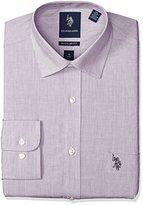 U.S. Polo Assn. Men's End on End Slim Fit Semi Spread Collar Dress Shirt