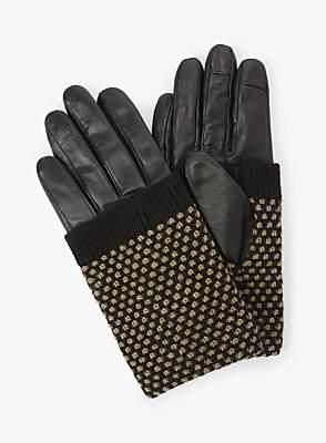 Becksöndergaard Riga Leather Gloves, Black/Beige