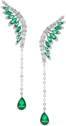 Eye Candy La Luxe Green Crystal & Silvertone Wings Earrings