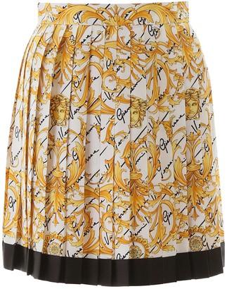 Versace Barocco Signature Pleated Mini Skirt