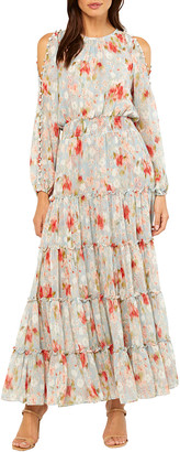 MISA Anya Tiered Cold-Shoulder Floral Maxi Dress