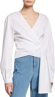 Lafayette 148 New York Basilla Italian Stretch-Cotton Wrap Blouse