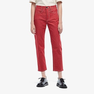 Colovos High-Waisted Cropped Jeans (Red) Women's Jeans
