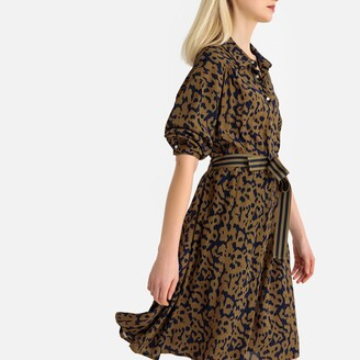 La Redoute Collections Leopard Print Shirt Dress with Belt