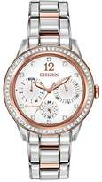 Citizen Watch Silhouette Crystal Women's Quartz Watch with White Dial Analogue Display and Rose Gold Stainless Steel Gold Plated Bracelet Fd2016-51A