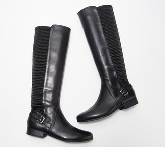 Isaac Mizrahi Live! Wide Calf Leather and Stretch Riding Boots