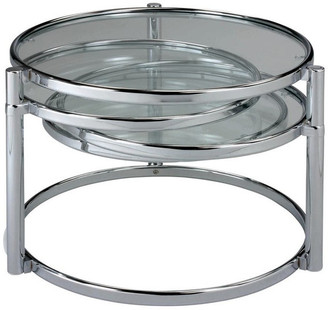 New Spec Inc Motion Coffee Table With Clear Tempered Glass, Chrome Frame