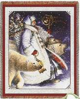 Santa and Polar Bears Woven Throw Blanket (Christmas