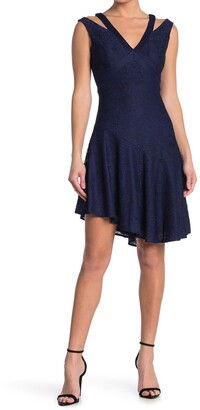 GUESS Asymmetrical Flounce Hem Lacy Dress