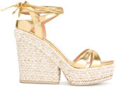 Sergio Rossi metallic wedge sandals - women - Leather/Suede/rubber - 36